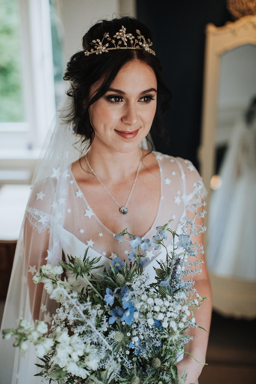 Bouquet Flowers Bride Bridal Blue Thistle White Gypsophila Moon Stars Wedding Ideas Olegs Samsonovs Photography