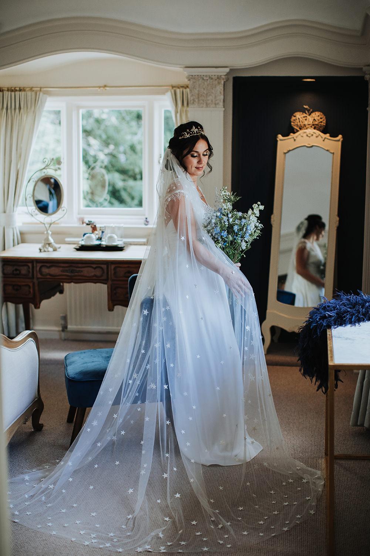 Dress Gown Bride Bridal Celestial Veil Moon Stars Wedding Ideas Olegs Samsonovs Photography