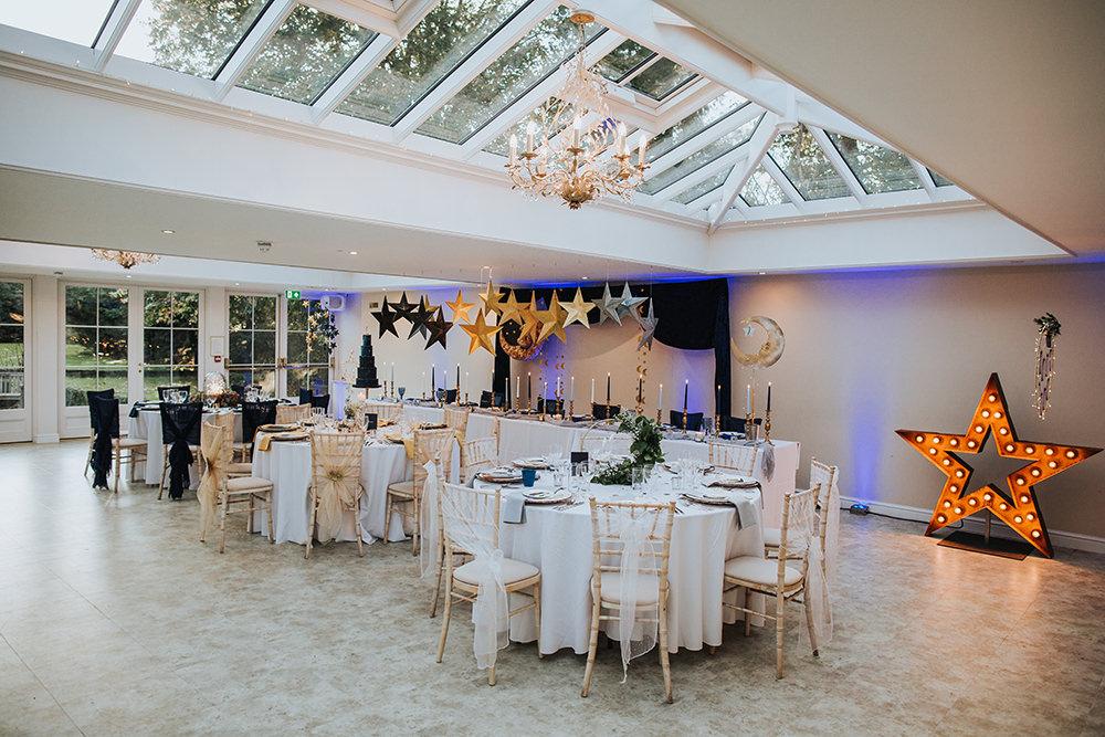 Tablescape Table Decor Hanging Suspended Blue Gold Moon Stars Wedding Ideas Olegs Samsonovs Photography
