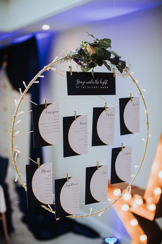 Table Plan Seating Chart Hoop Celestial Moon Stars Wedding Ideas Olegs Samsonovs Photography