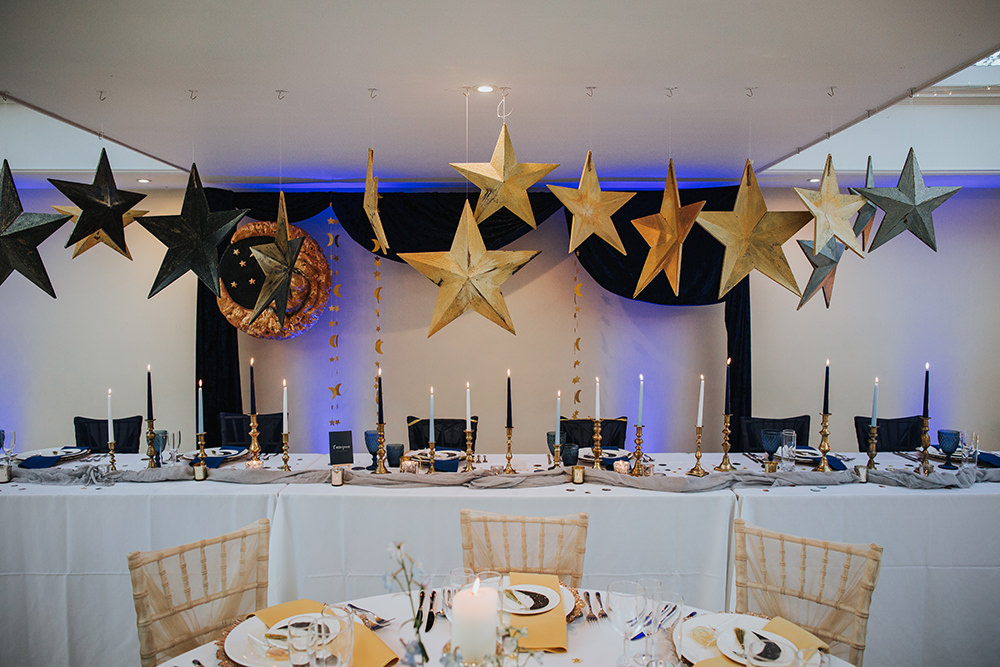 Tablescape Table Decor Hanging Suspended Blue Gold Top Table Moon Stars Wedding Ideas Olegs Samsonovs Photography