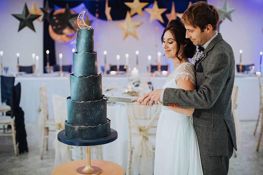 Cake Blue Celestial Gold Moon Stars Wedding Ideas Olegs Samsonovs Photography