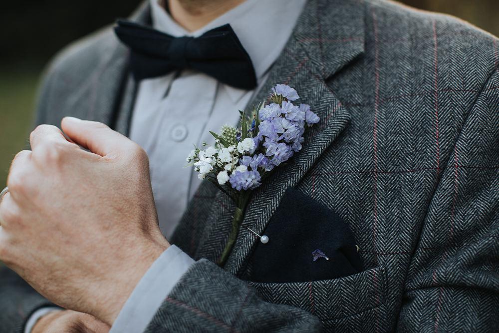 Groom Suit Grey Tweed Bow Tie Buttonhole Moon Stars Wedding Ideas Olegs Samsonovs Photography