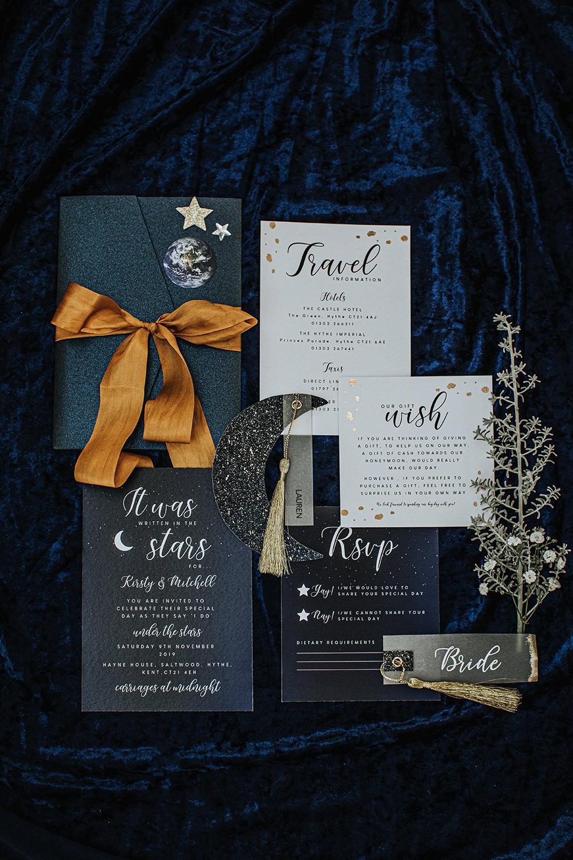 Celestial Stationery Invites Invitations Suite Flat Lay Blue Mustard Moon Stars Wedding Ideas Olegs Samsonovs Photography