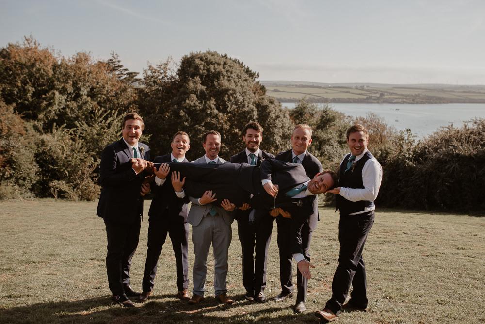 Groom Groomsmen Suit Navy North Cornwall Wedding Taylor-Hughes Photography