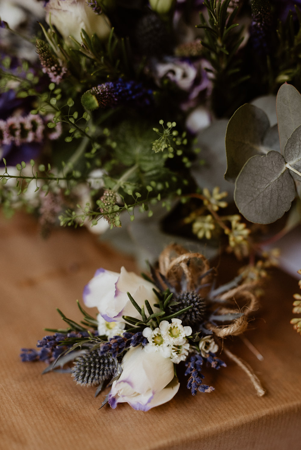 Buttonhole Flowers Lavender Thistle North Cornwall Wedding Taylor-Hughes Photography