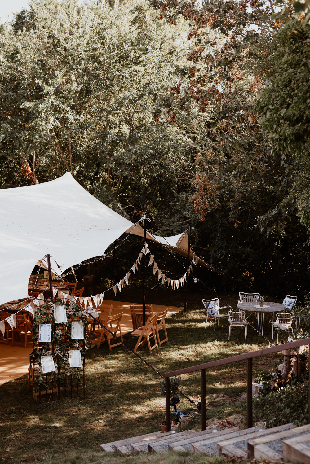 Stretch Tent Marquee Garden Bunting Decor North Cornwall Wedding Taylor-Hughes Photography