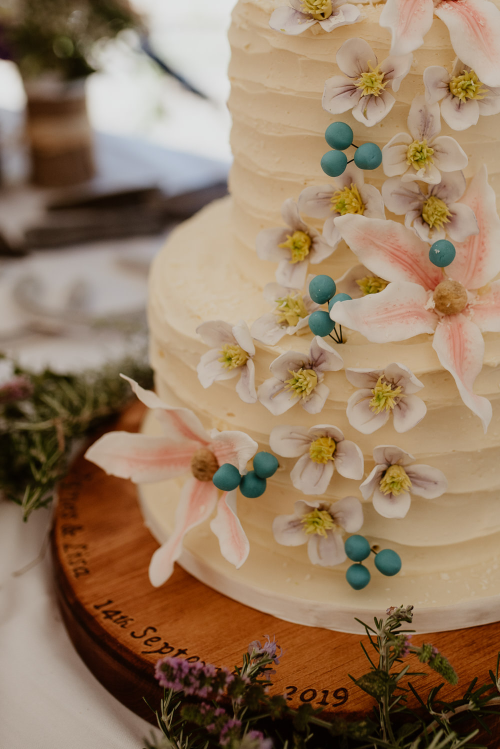 Flower Floral Buttercream Cake North Cornwall Wedding Taylor-Hughes Photography