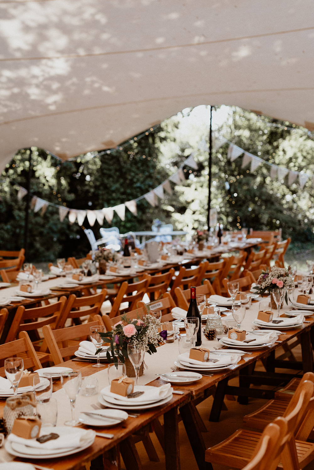 Stretch Tent Marquee Decor Long Tables Bunting Decoration North Cornwall Wedding Taylor-Hughes Photography