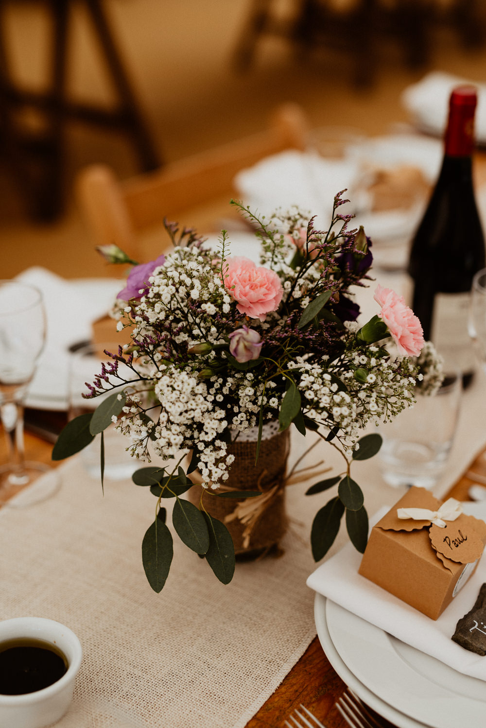 Table Flowers Centrepiece Jar North Cornwall Wedding Taylor-Hughes Photography