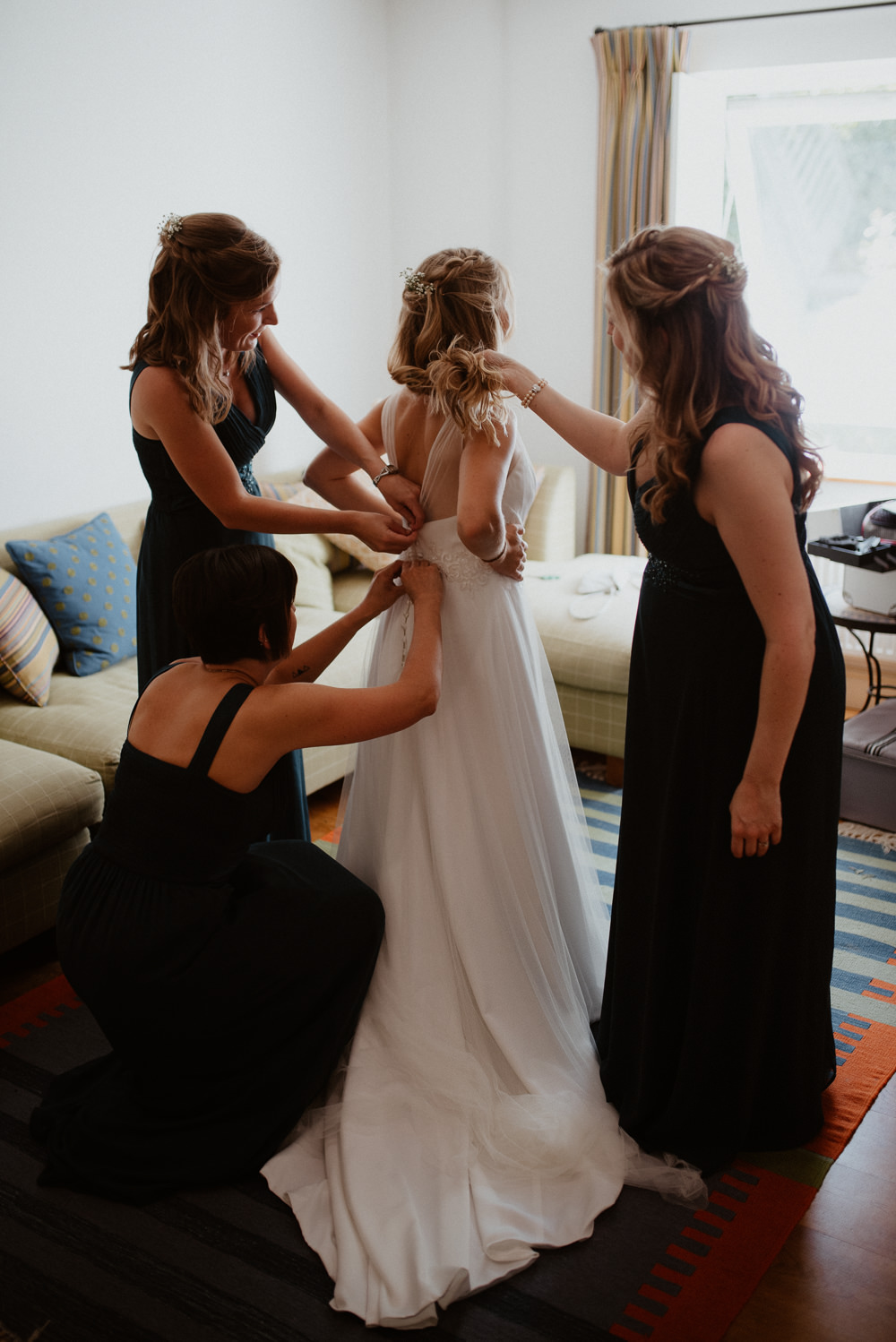 Dress Gown Bride Bridal Tulle Straps Flowing North Cornwall Wedding Taylor-Hughes Photography