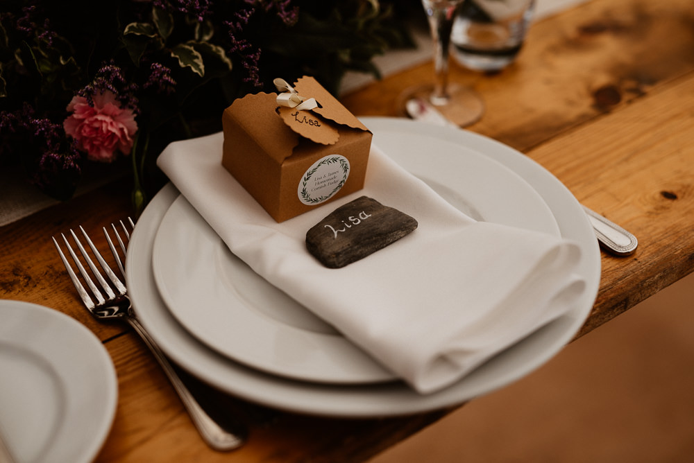 Place Setting Place Name Decor Pebble Favour Box North Cornwall Wedding Taylor-Hughes Photography