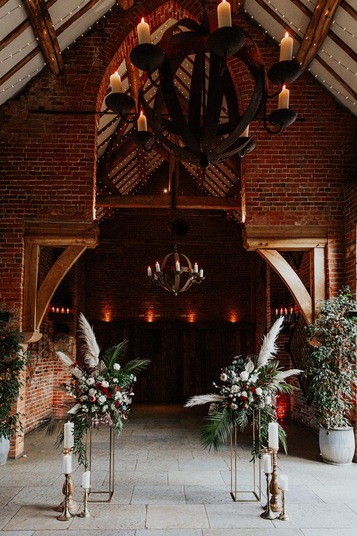 Alter Aisle Ceremony Flowers Pampas Grass Shustoke Barn Wedding Oxi Photography