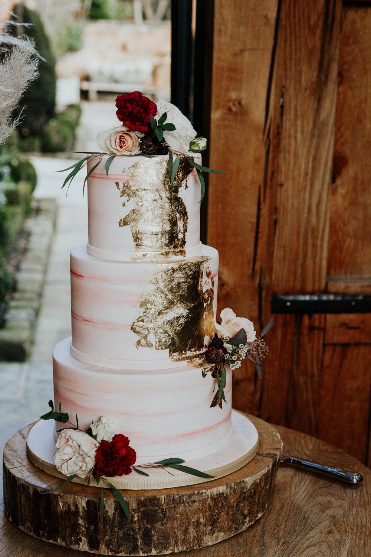 Cake Gold Leaf Log Stand Flowers Shustoke Barn Wedding Oxi Photography