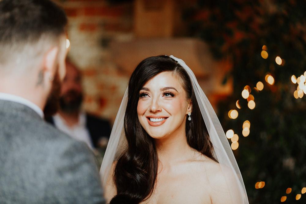 Bride Bridal Make Up Waves Long Hair Shustoke Barn Wedding Oxi Photography