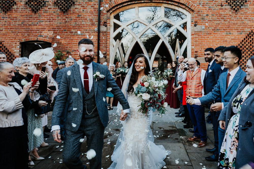 Confetti Throw Shustoke Barn Wedding Oxi Photography