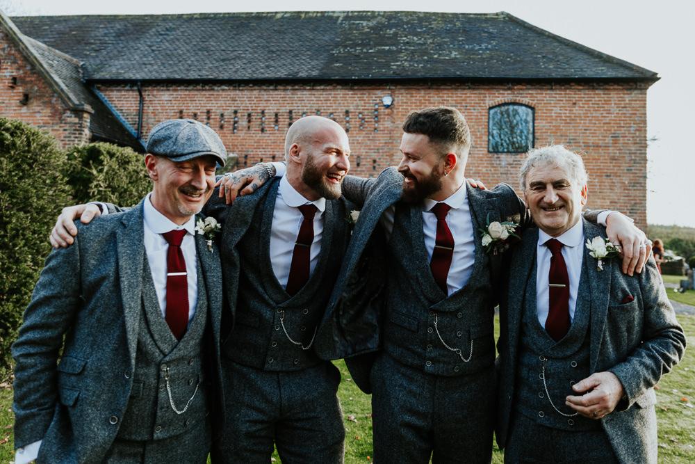 Groomsmen Groom Suit Grey Red Burgundy Tie Shustoke Barn Wedding Oxi Photography