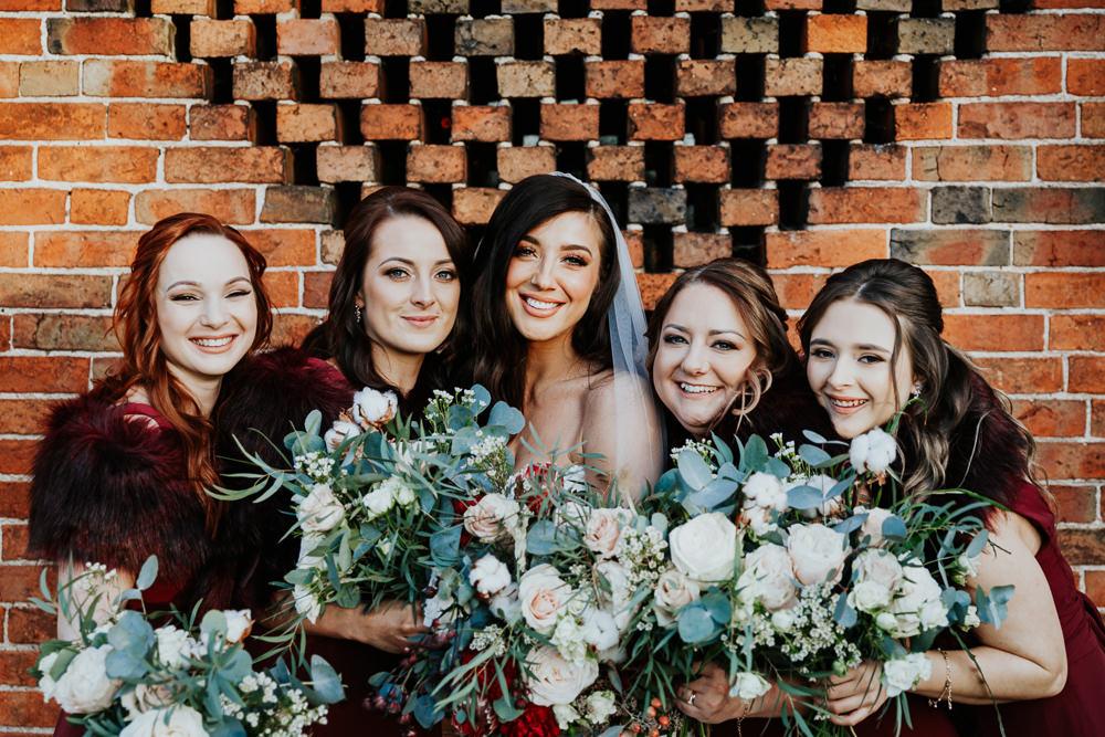 Bouquet Flowers Bride Bridal Protea Blush Rose Greenery Foliage Bridesmaids Shustoke Barn Wedding Oxi Photography