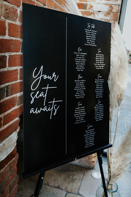 Chalk Board Table Plan Seating Chart Shustoke Barn Wedding Oxi Photography
