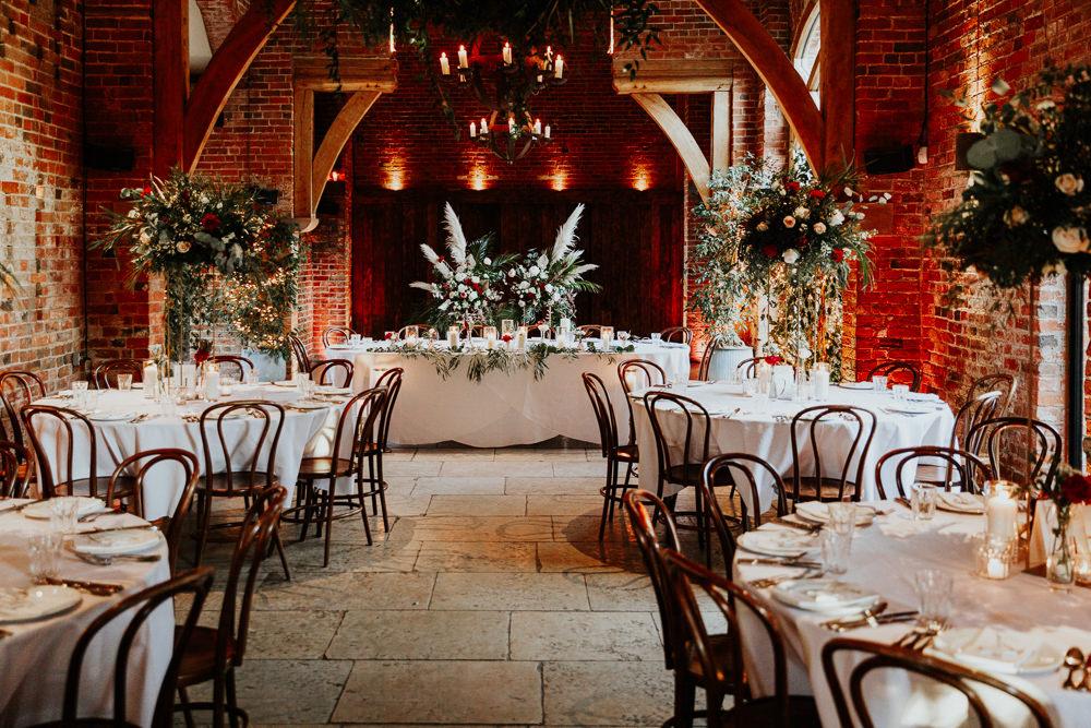 Top Table Flowers Pampas Grass Shustoke Barn Wedding Oxi Photography