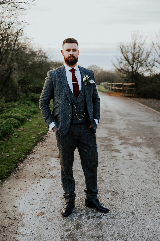 Groom Suit Grey Red Burgundy Tie Shustoke Barn Wedding Oxi Photography
