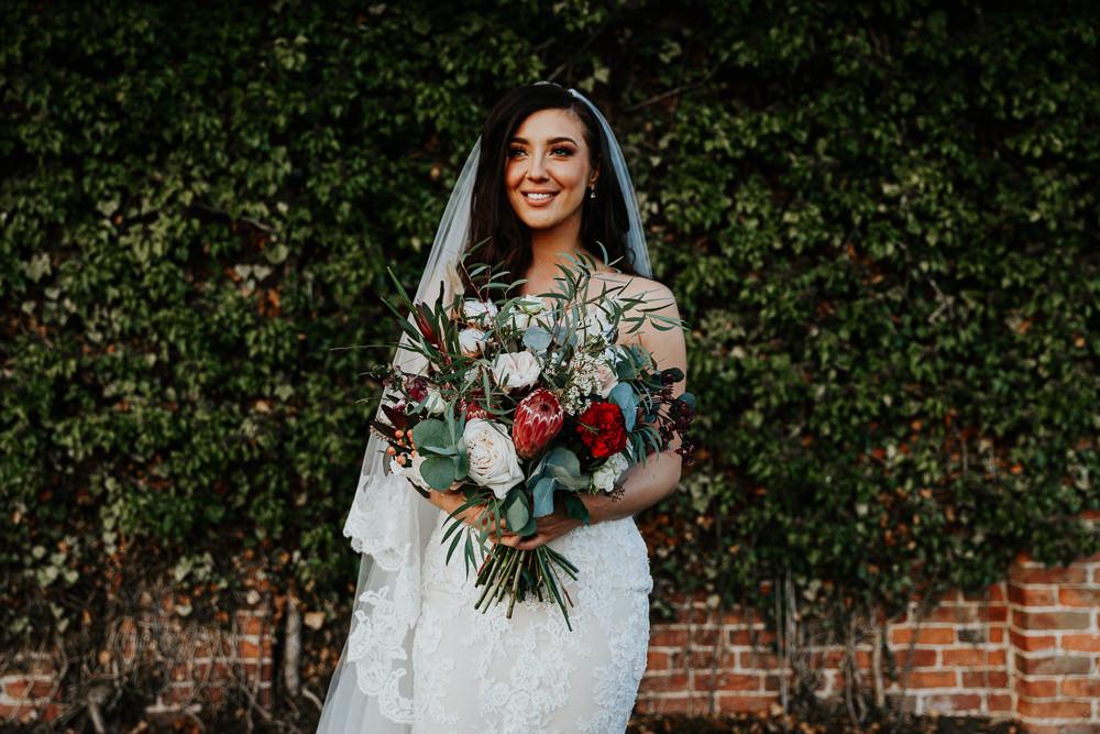 Bouquet Flowers Bride Bridal Protea Blush Rose Greenery Foliage Shustoke Barn Wedding Oxi Photography