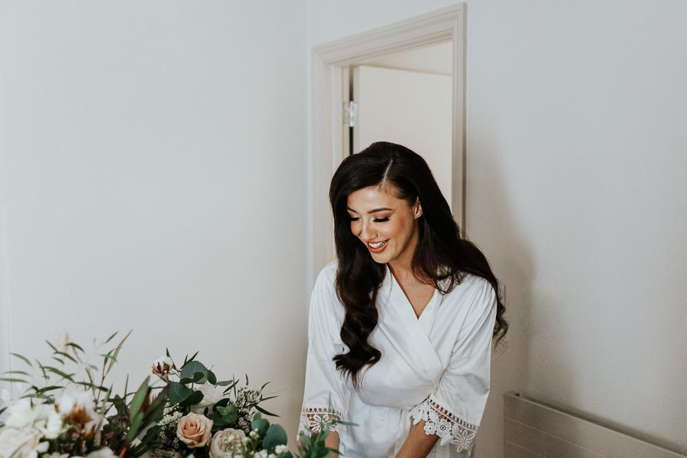 Bride Bridal Dressing Gown Robe Shustoke Barn Wedding Oxi Photography