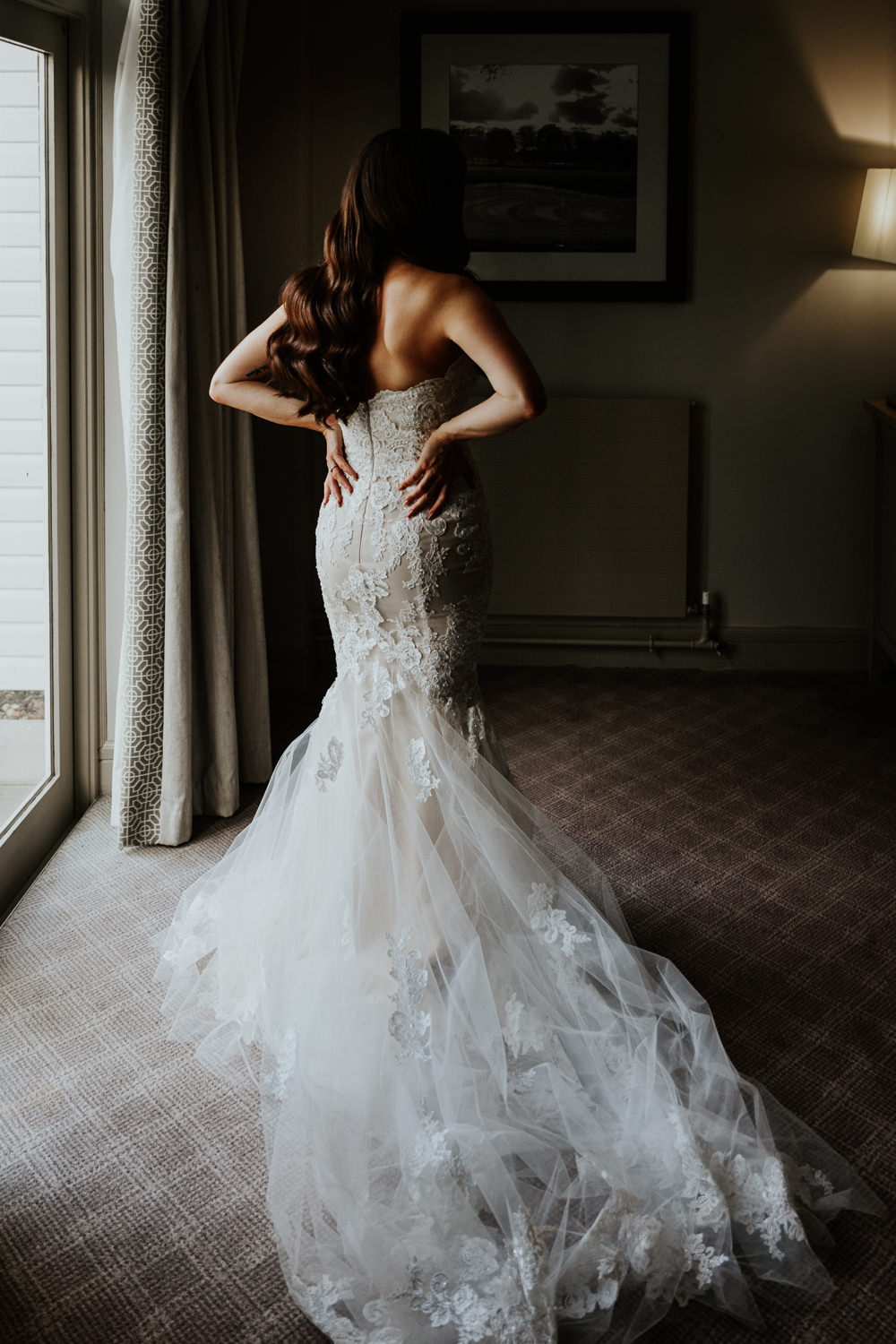 Dress Gown Bride Bridal Enzoani Lace Fit and Flare Shustoke Barn Wedding Oxi Photography
