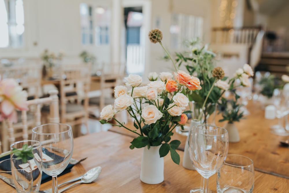 Table Flowers Jugs Centrepiece Rose Daliah Thorpeness Country Club Wedding Charlotte Razzell Photography