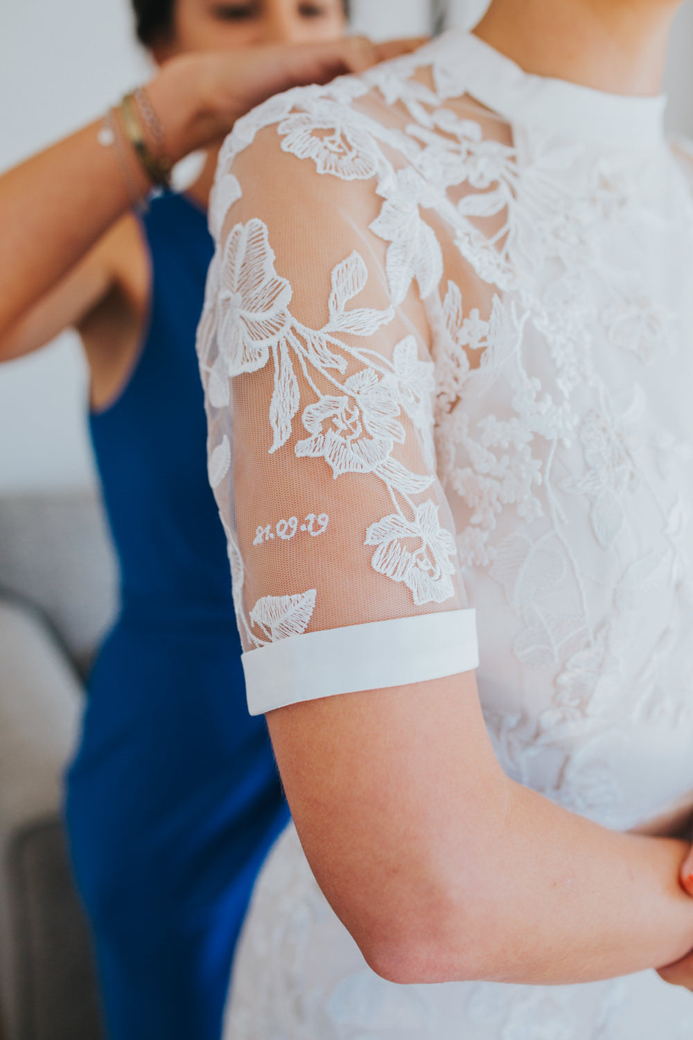 Dress Gown Bride Bridal Lace Sleeves Phase Eight Personalised Embroidered Thorpeness Country Club Wedding Charlotte Razzell Photography