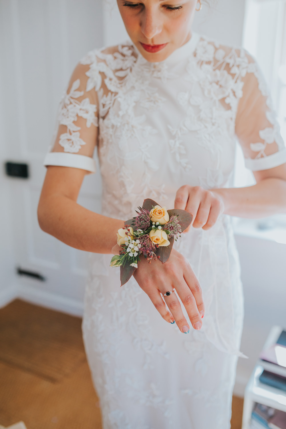 Dress Gown Bride Bridal Lace Sleeves Phase Eight Personalised Embroidered Wrist Corsage Thorpeness Country Club Wedding Charlotte Razzell Photography