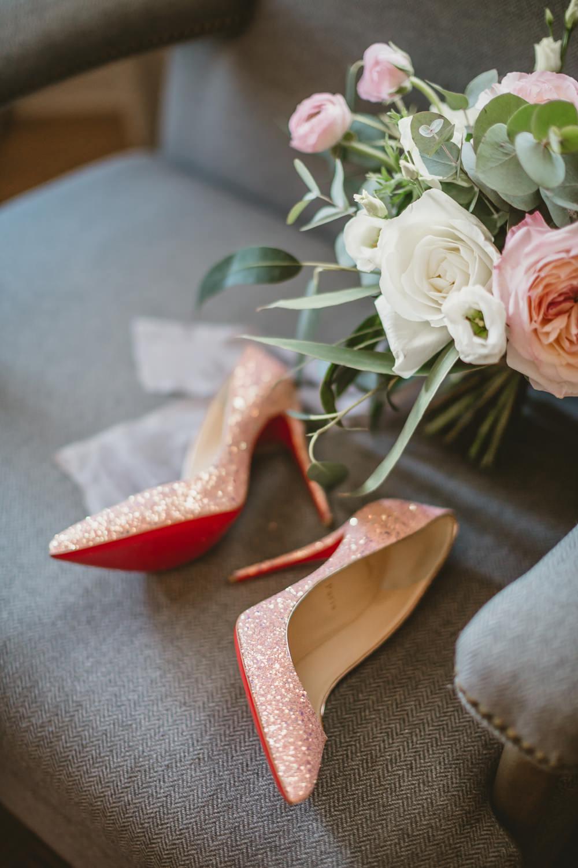 Louboutin Shoes Bride Bridal Pink Glitter York Minster Wedding Amy Lou Photography