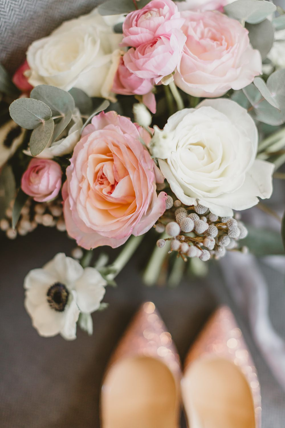 Bouquet Flowers Bride Bridal Pink Cream Rose Anemone Berries York Minster Wedding Amy Lou Photography