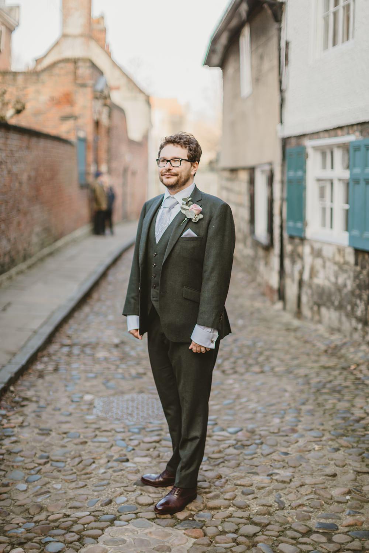 Groom Suit Green Tie York Minster Wedding Amy Lou Photography