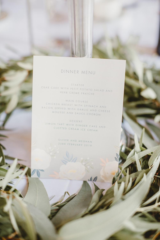 Menu Floral Stationery York Minster Wedding Amy Lou Photography