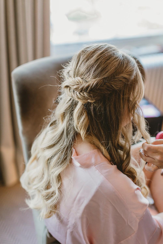 Bride Bridal Hair Style Half Up Half Down Plait Braid York Minster Wedding Amy Lou Photography