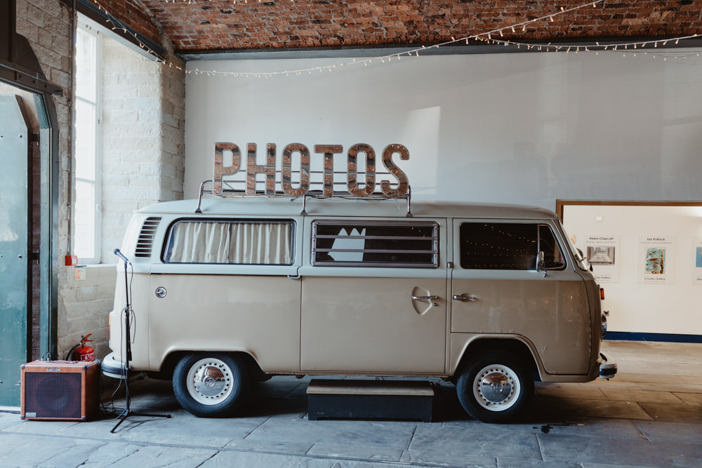 VW Campervan Photo Booth Arches Dean Clough Wedding Stevie Jay Photography
