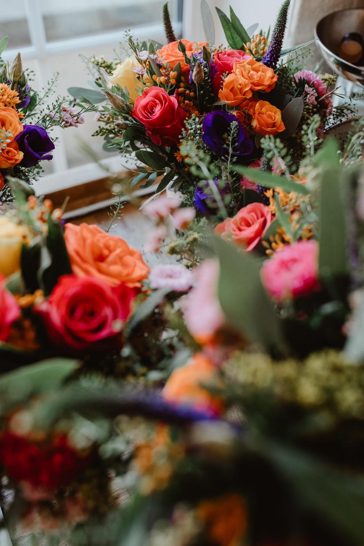 Bouquet Flowers Bride Bridal Orange Rose Arches Dean Clough Wedding Stevie Jay Photography