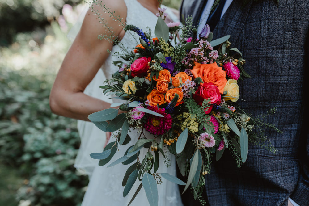 Bouquet Flowers Bride Bridal Orange Rose Greenery Foliage Purple Arches Dean Clough Wedding Stevie Jay Photography