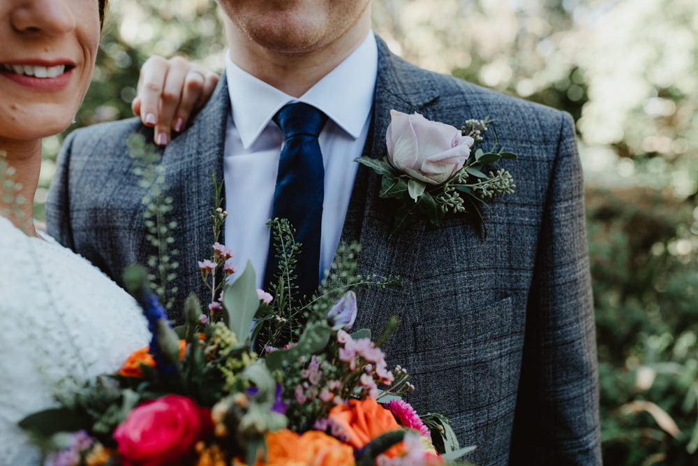 Groom Groomsmen Suit Grey Check Rose Buttonhole Arches Dean Clough Wedding Stevie Jay Photography