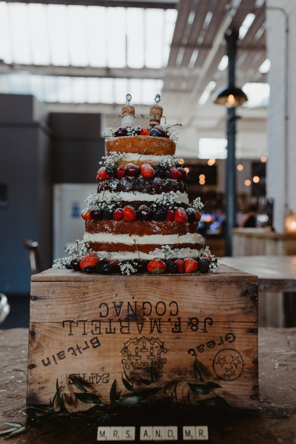 Naked Cake Berries Flowers Topper Box Crate Stand Sponge Layer Arches Dean Clough Wedding Stevie Jay Photography