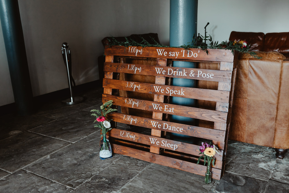 Wooden Pallet Sign Signs Signage Arches Dean Clough Wedding Stevie Jay Photography