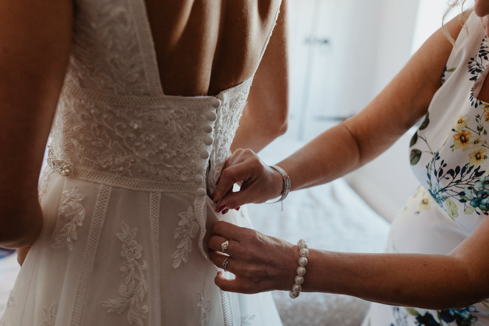 Dress Gown Bride Bridal Low Black Lace Veil Tulle Arches Dean Clough Wedding Stevie Jay Photography