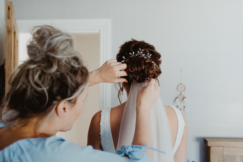 Bride Bridal Hair Style Up Do Veil Arches Dean Clough Wedding Stevie Jay Photography
