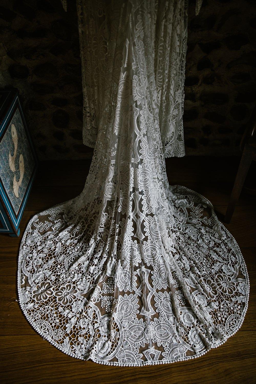 Dress Gown Bride Bridal Rue Du Seine Sia Lace Sleeves Train Boho Bohemian Chaucer Barn Wedding Katherine Ashdown Photography