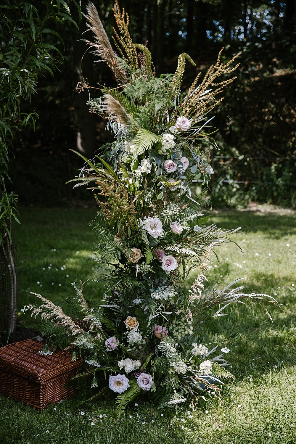 Flower Arch Installation Natural Wild Backdrop Ceremony Chaucer Barn Wedding Katherine Ashdown Photography
