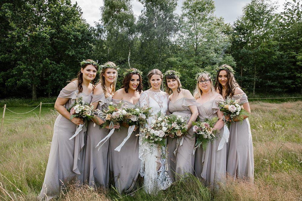 Grey Bridesmaid Bridesmaids Dress Dresses Chaucer Barn Wedding Katherine Ashdown Photography