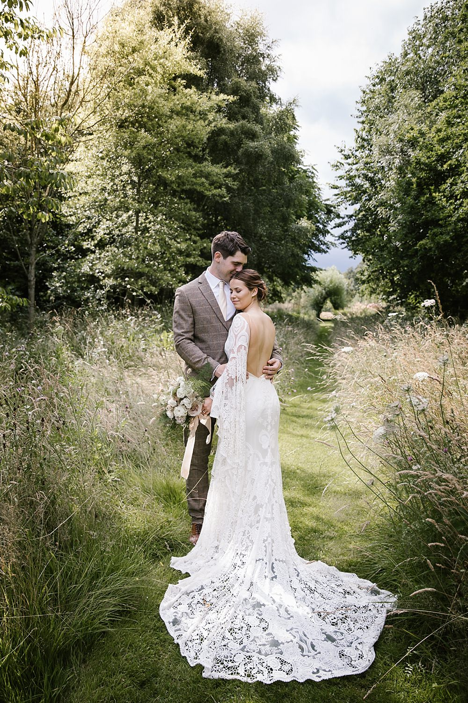 Chaucer Barn Wedding Katherine Ashdown Photography Dress Gown Bride Bridal Rue Du Seine Sia Lace Sleeves Train Boho Bohemian