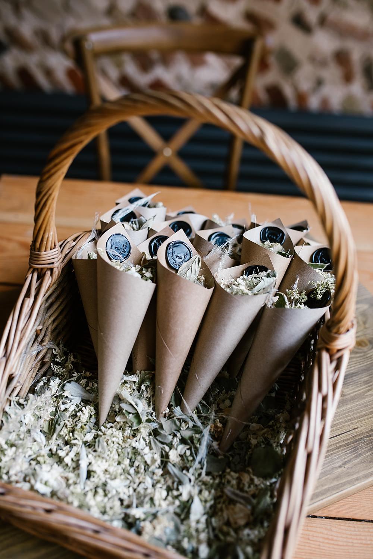 Confetti Cones Basket Chaucer Barn Wedding Katherine Ashdown Photography