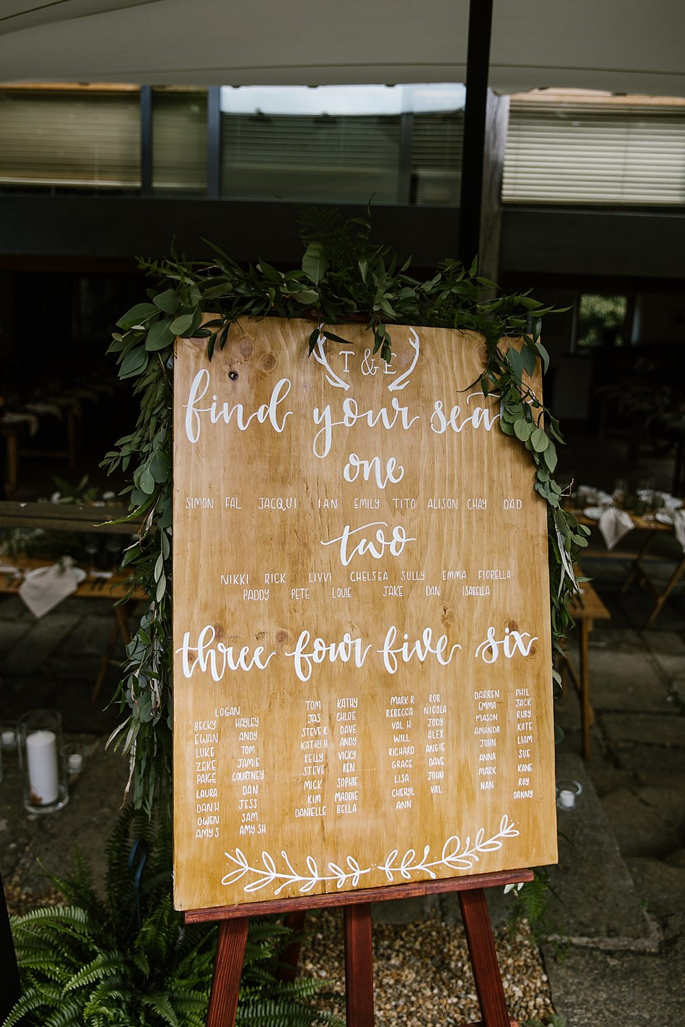 Table Plan Seating Chart Wooden Greenery Calligraphy Chaucer Barn Wedding Katherine Ashdown Photography